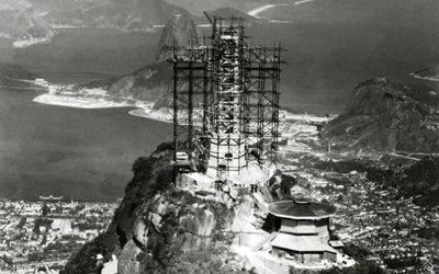 Construction de la statue au Corcovado