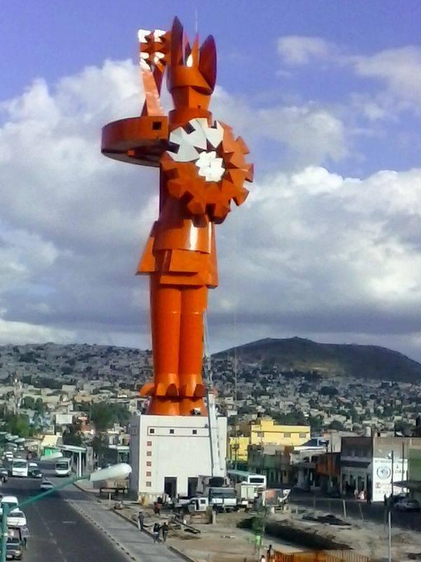 Le guerrier Chimalli, à Chimalhuacan (Mexique)