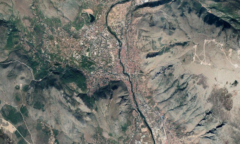 Vue aérienne de Mostar