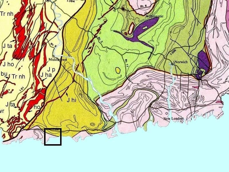 Carte de la géologie de la côte du Connecticut