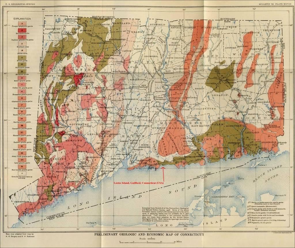Position de la carrière Beattie, dans le Connecticut (carte de 1906)