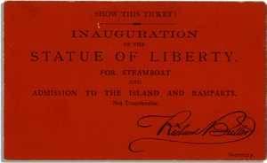 Billet pour l'inauguration de la statue de la Liberté