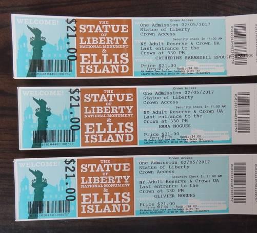 Tickets d'accès à la statue de la Liberté