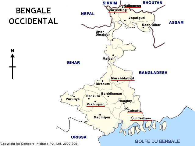 Carte du Bengale occidental