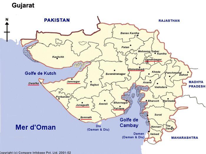 Carte de Gujarat