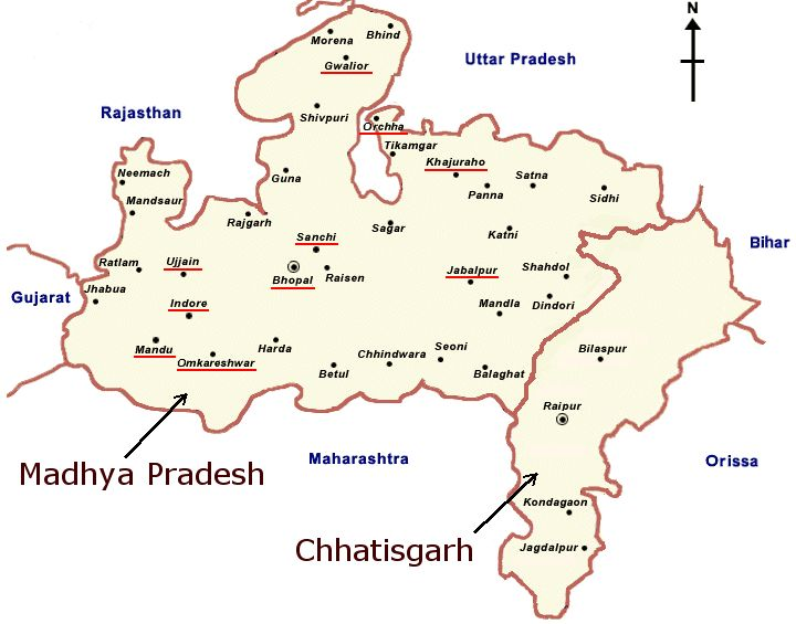 Carte du Madya Pradesh et du Chhatisgarh