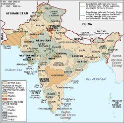 Carte de la domination anglaise de l'Inde