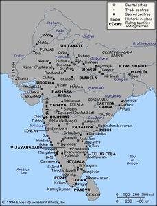 Carte du sultanat de Delhi