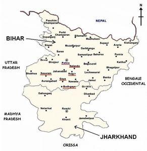 Carte du Bihar et du Jarkhand