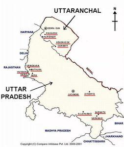 Carte de l'Uttar Pradesh et Uttaranchal